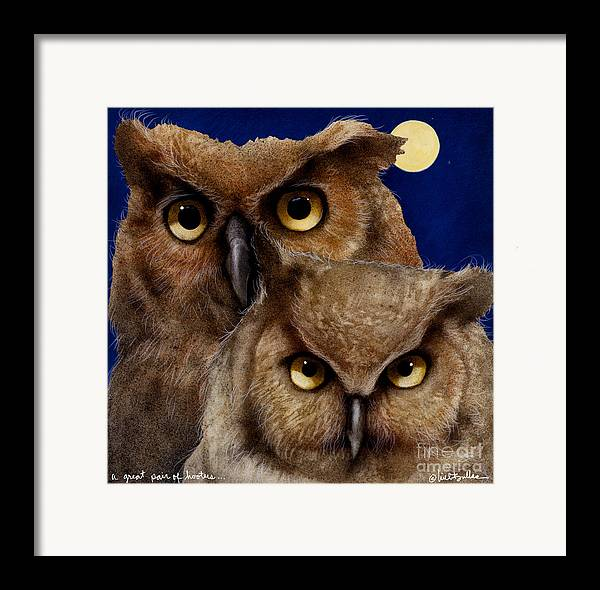 Will Bullas Framed Print featuring the painting A Great Pair Of Hooters... by Will Bullas