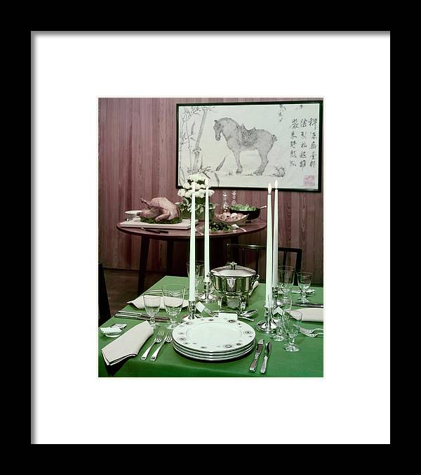 Indoors Framed Print featuring the photograph A Green Table by Wiliam Grigsby