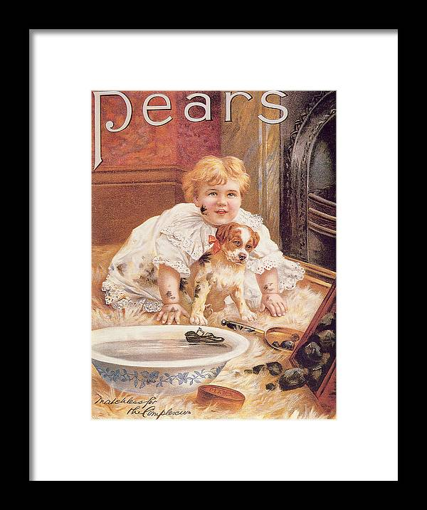 Bathing Framed Print featuring the photograph A Guilty Smile Before The Thrashing, From The Pears Annual by English School