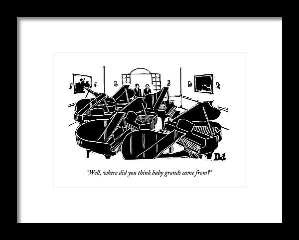 Pianos Framed Print featuring the drawing A Guy Talks To Another Guy In A Room Of Seven by Drew Dernavich