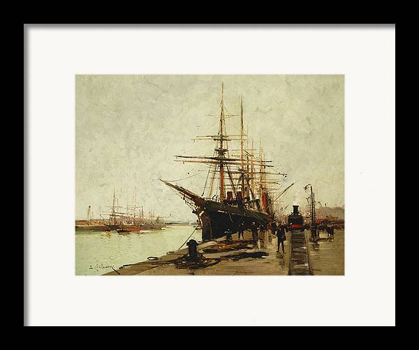 19th Century Framed Print featuring the painting A Harbor by Eugene Galien-Laloue