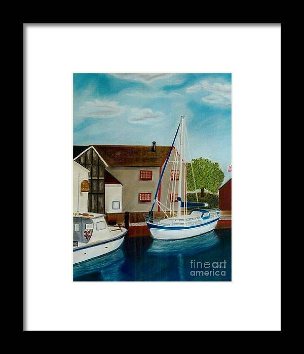 Harbor Framed Print featuring the painting A Harbor In New England by Christiane Schulze Art And Photography