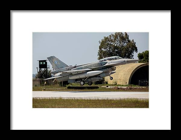 Greece Framed Print featuring the photograph A Hellenic Air Force F-16d Block 52+ by Timm Ziegenthaler