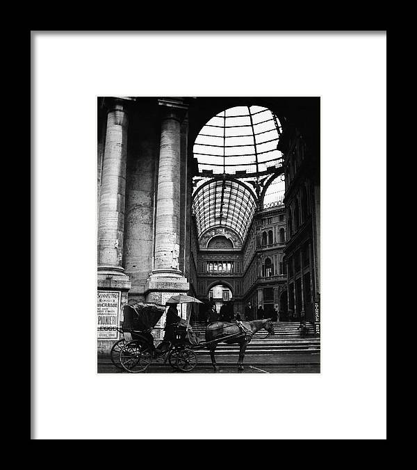 Animal Framed Print featuring the photograph A Horse And Cart By The Galleria Umberto by Robert Randall