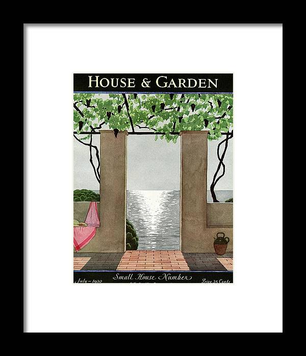 Illustration Framed Print featuring the photograph A House And Garden Cover Of A Seaside Patio by Andre E. Marty