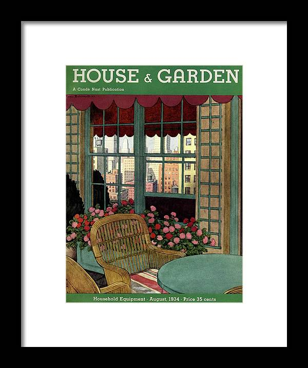 Illustration Framed Print featuring the photograph A House And Garden Cover Of A Wicker Chair by Pierre Brissaud