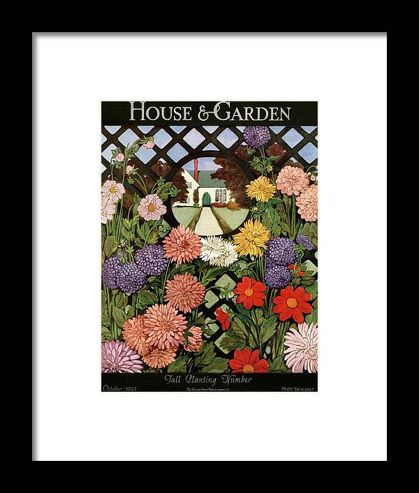 Illustration Framed Print featuring the photograph A House And Garden Cover Of Flowers by Ethel Franklin Betts Baines