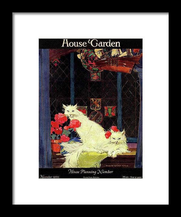 Illustration Framed Print featuring the photograph A House And Garden Cover Of White Cats by Bradley Walker Tomlin
