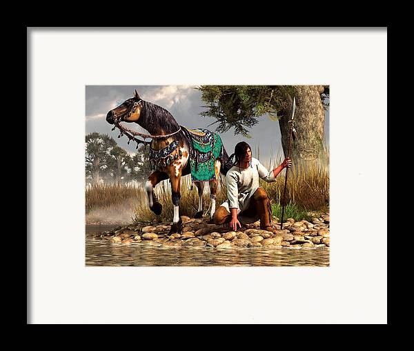 Framed Print featuring the digital art A Hunter And His Horse by Daniel Eskridge