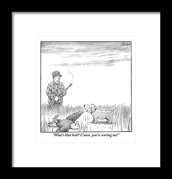 A Hunting Dog Addresses His Master Who Looks Framed Print by Harry Bliss