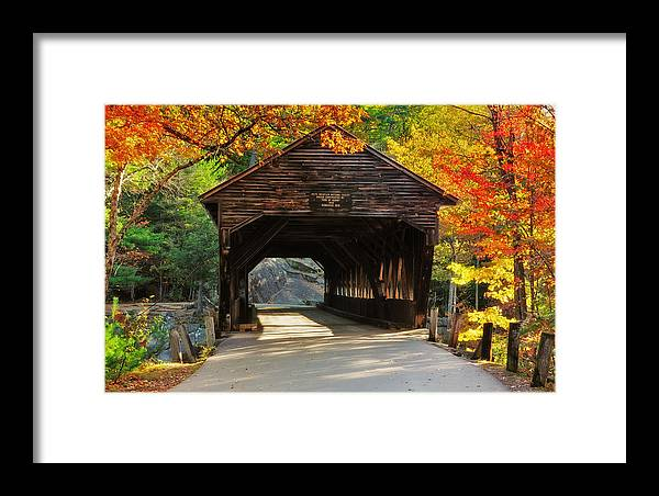 Albany Covered Bridge Framed Print featuring the photograph A Kancamagus Gem - Albany Covered Bridge Nh by T-S Fine Art Landscape Photography