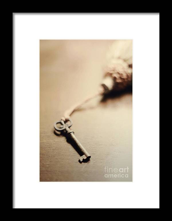 Key Framed Print featuring the photograph A Key... by Trish Mistric