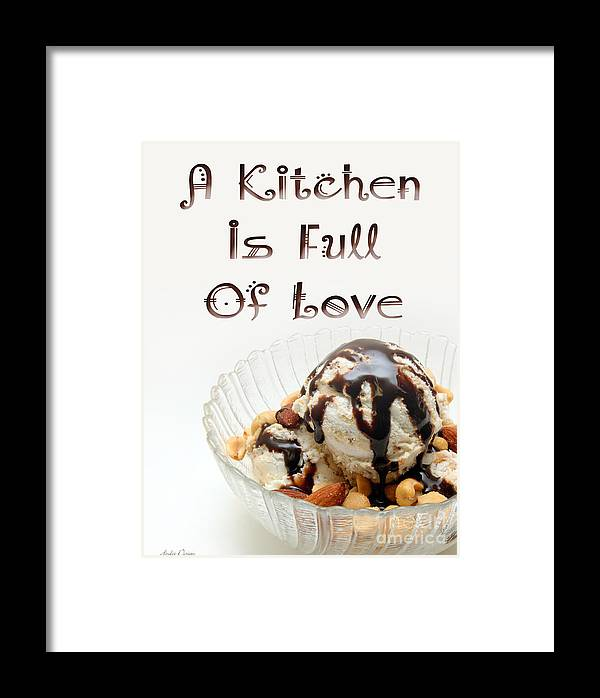 Ice Cream Sundae Framed Print featuring the digital art A Kitchen Is Full Of Love 13 by Andee Design