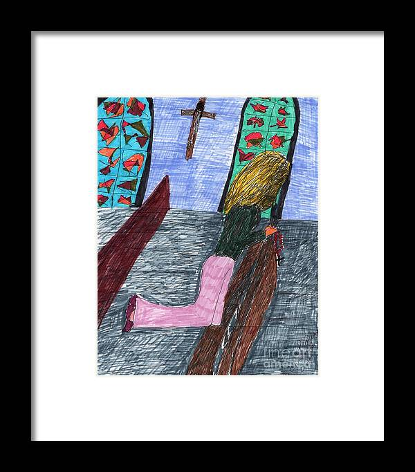 Church Lady Kneeling With Rosary Beads Stained Glass Windows Framed Print featuring the mixed media A Lady Praying by Elinor Helen Rakowski
