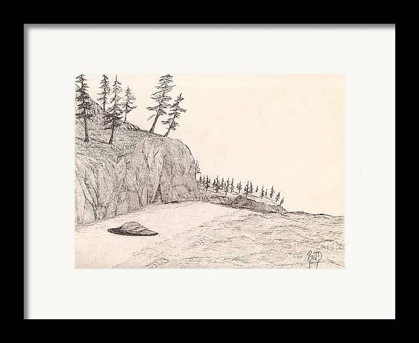 Pen And Ink Framed Print featuring the drawing A Lakeshore... Sketch by Robert Meszaros