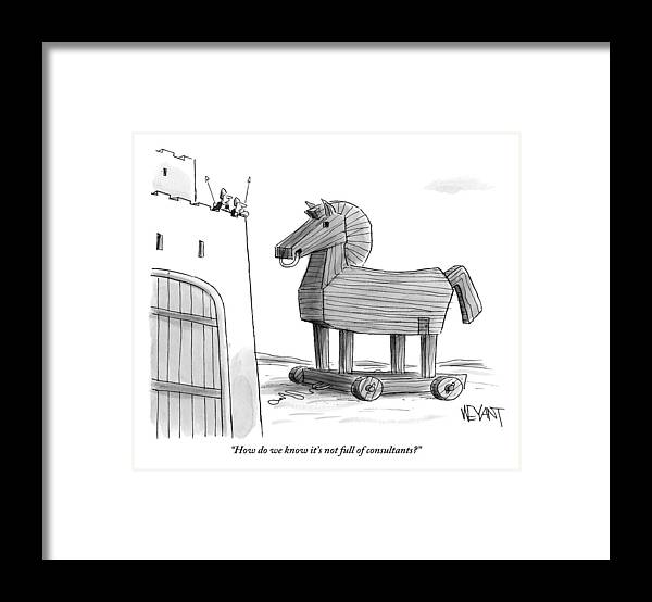 Consultants Framed Print featuring the drawing A Large Wooden Horse by Christopher Weyant
