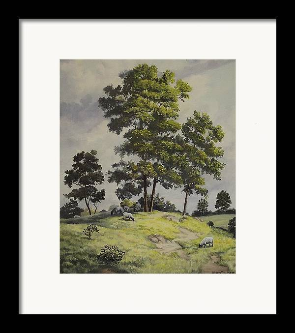 Landscape Framed Print featuring the painting A Lazy Day For Grazing by Wanda Dansereau