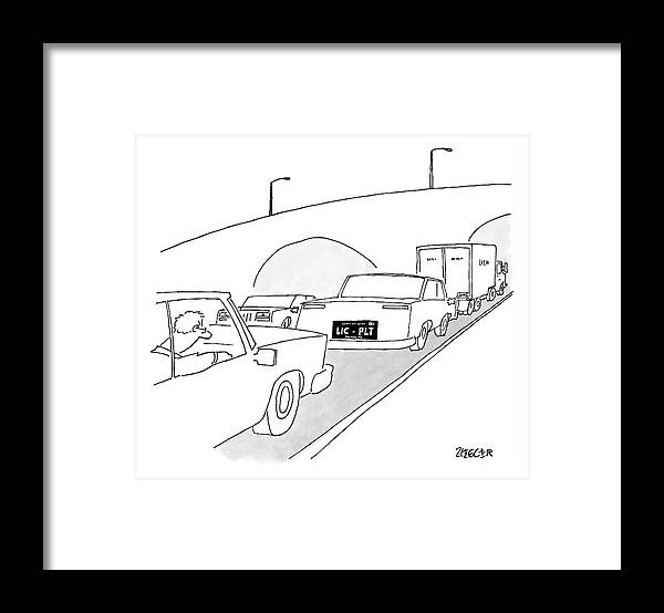 Captionless Framed Print featuring the drawing A License Plate That Reads  Lic-plt by Jack Ziegler