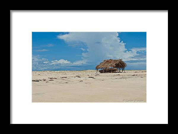 Beach Framed Print featuring the pyrography A Little Shack by Daniel Wander
