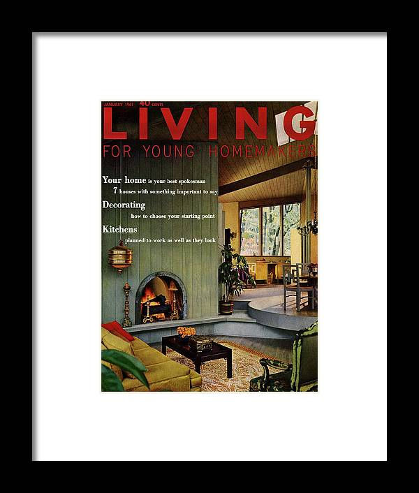 Furniture Framed Print featuring the digital art A Living Room With Sherwin-williams Wood-paneling by Bill Margerin