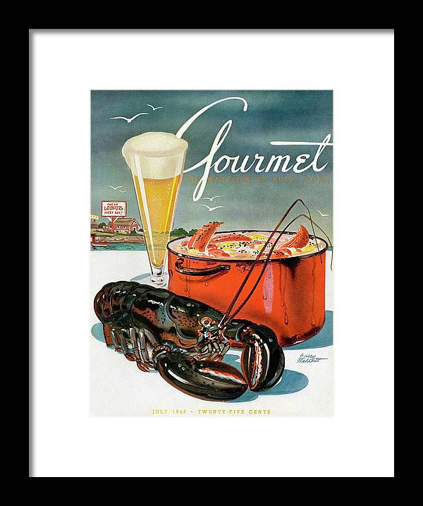 Illustration Framed Print featuring the photograph A Lobster And A Lobster Pot With Beer by Henry Stahlhut
