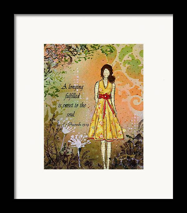 Unique Framed Print featuring the mixed media A Longing Fulfilled by Janelle Nichol