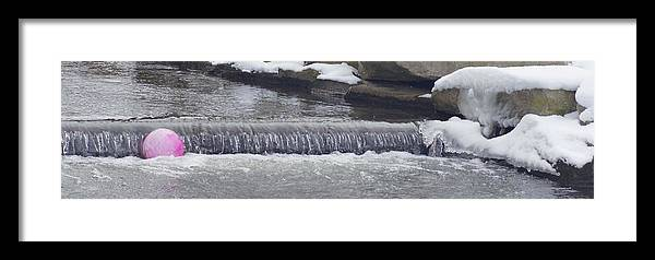 Pink Ball Water Dam Veterens Park Creek Dam Winter Ice Snow Oblong Shot Rosemarie E Seppala Cold Creeksideicicles Winter Snow Use In Guest Room Seasonal Winter Get Away Home Entryway Kitchen Den Framed Print featuring the photograph A Lost Pink Ball by Rosemarie E Seppala