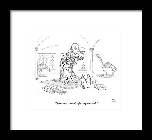 Scientists Framed Print featuring the drawing A Male And Female Paleontologist by Paul Noth