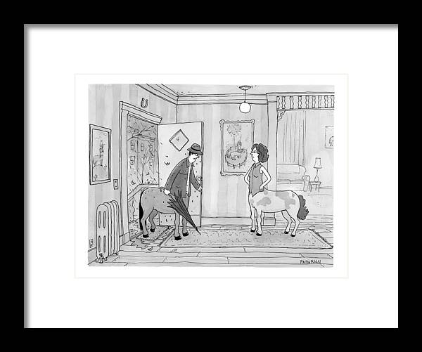 Husbands Coming Home Framed Print featuring the drawing A Male Centaur by Jason Patterson