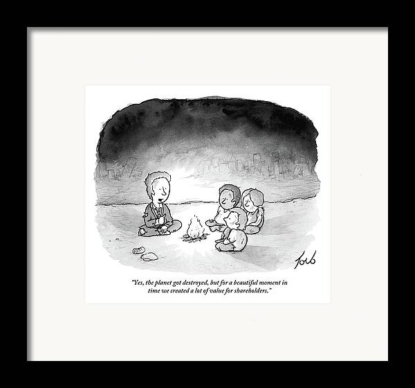 Armageddon Framed Print featuring the drawing A Man And 3 Children Sit Around A Fire by Tom Toro