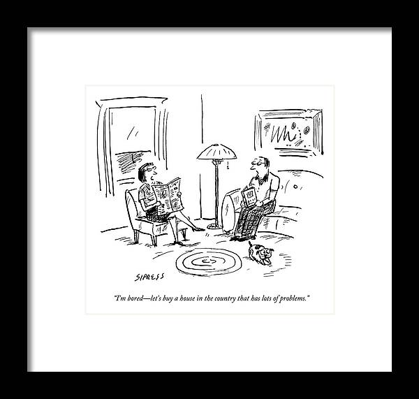 Flip Framed Print featuring the drawing A Man And A Woman Talk In Their Living Room by David Sipress