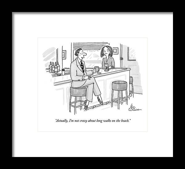 Actually Framed Print featuring the drawing A Man At A Bar Wears Ladies' Shoes by Leo Cullum