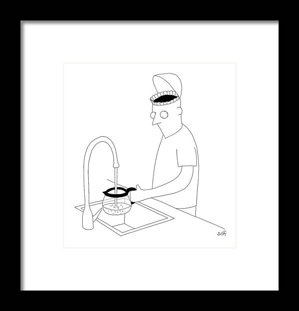 Coffee Framed Print featuring the drawing A Man Filling Up His Coffee Pot by Seth Fleishman