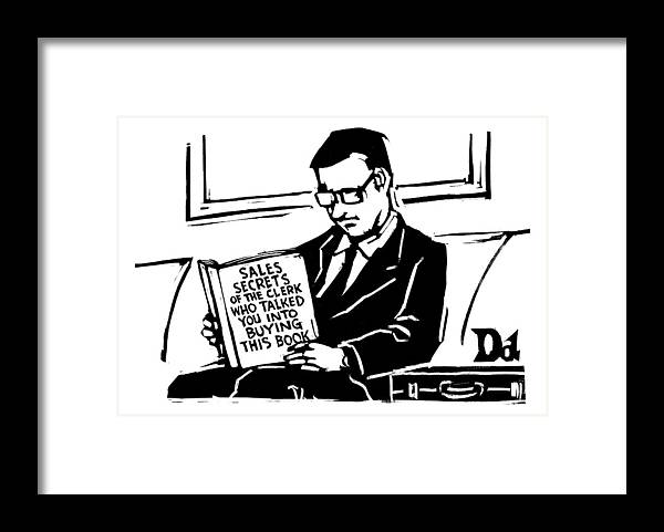 Books Framed Print featuring the drawing A Man In A Suit Reads A Book With The Title: by Drew Dernavich