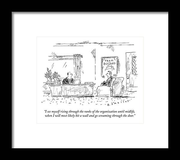 #condenastnewyorkercartoon Framed Print featuring the drawing A Man Interviews For A Job by Barbara Smaller