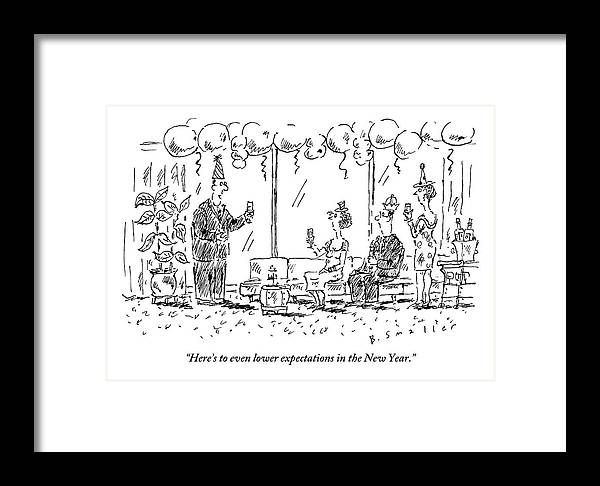 New Years Eve Framed Print featuring the drawing A Man Makes A Toast At A New Years Party by Barbara Smaller