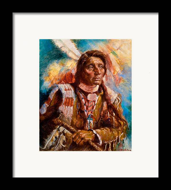 Native American Framed Print featuring the painting A Man Of Peace by Ellen Dreibelbis