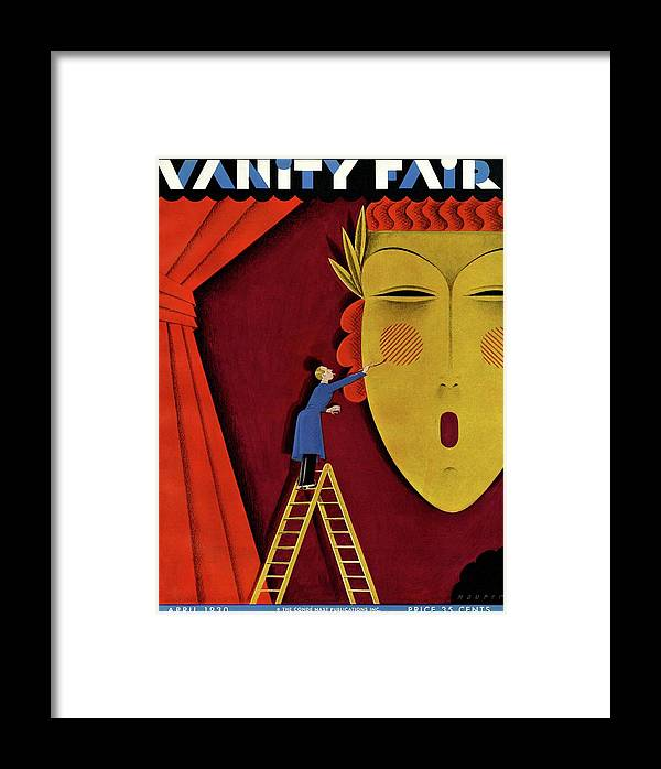 Illustration Framed Print featuring the photograph Vanity Fair Cover Of A Man On A Ladder by Maurer