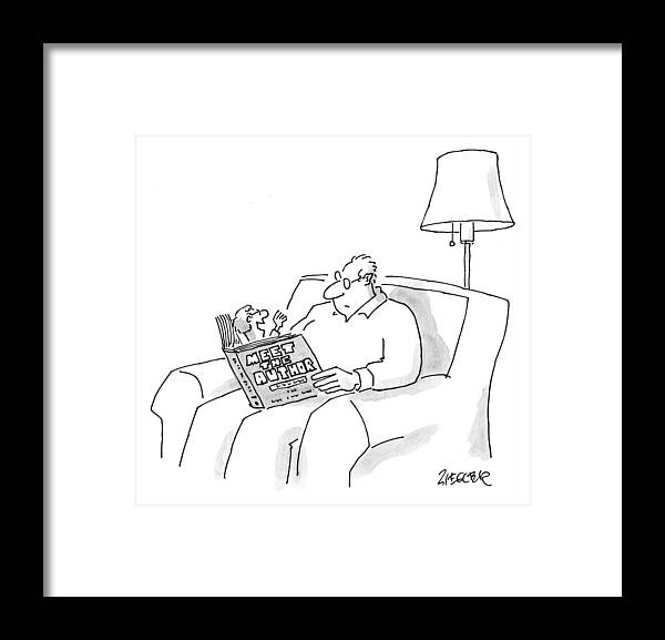 Book Framed Print featuring the drawing A Man Reads A Book Entitled by Jack Ziegler