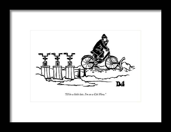A Man Rides A Bicycle With A Snow Plow Attached Framed Print