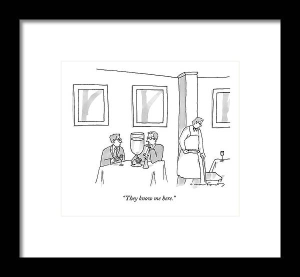 Alcohol Framed Print featuring the drawing A Man Sits At A Restaurant Table With An Enormous by Michael Crawford