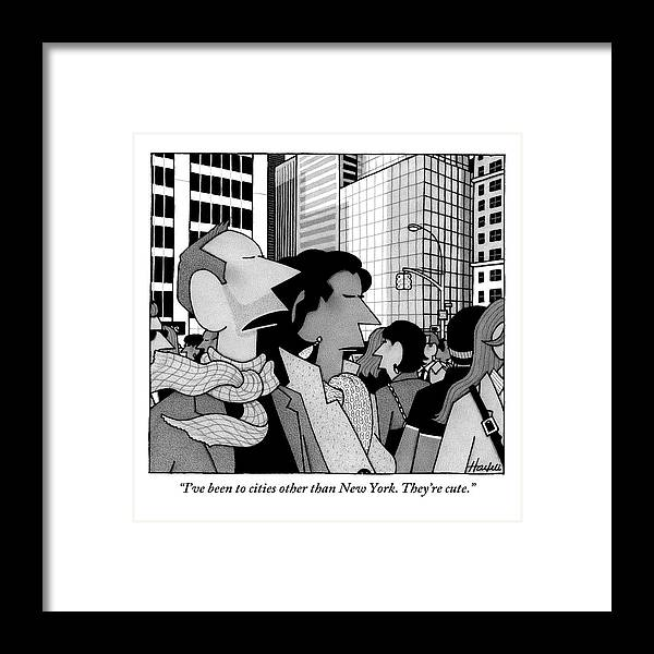 New York City Framed Print featuring the drawing A Man Speaks To His Wife In The Midst Of New York by William Haefeli
