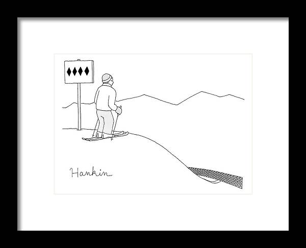 Captionless Framed Print featuring the drawing A Man Stands At The Top Of A Ski Slope by Charlie Hankin