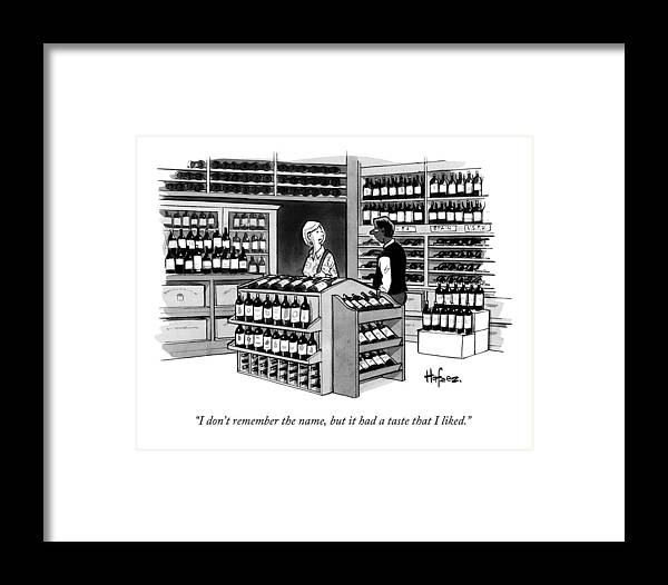 Wine Framed Print featuring the drawing A Man Talking To An Employe At A Wine Store by Kaamran Hafeez