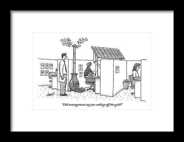 Solar Energy Framed Print featuring the drawing A Man Wearing Overalls Has A Solar Panel Hooked by Tom Cheney