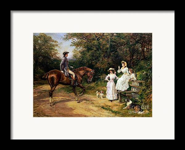 Meeting; Stile; Rural; Countryside; Road; Traveller; Rider; Male; Horse; Mounted; Horseback; Female; Walk; Walking; Polite; Greeting; Dogs; 18th; Girls; Gentleman; Romance; Romantic; Politeness; Society Life; 19th; 20th; Dirt Road; Path Framed Print featuring the painting A Meeting By A Stile by Heywood Hardy