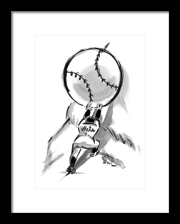 A Mets Player Pushes A Giant Baseball by Lee Lorenz
