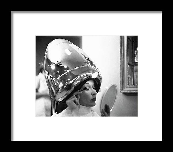 Fashion Framed Print featuring the photograph A Model In A Beauty Salon by Constantin Joffe