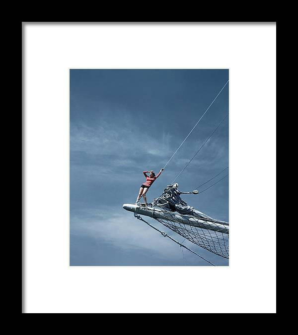Accessories Framed Print featuring the photograph A Model On A Ship by Toni Frissell