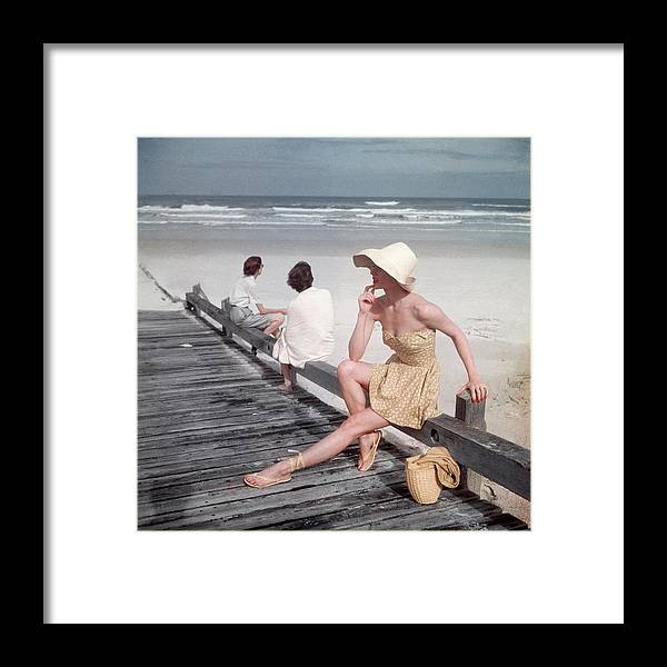 Accessories Framed Print featuring the photograph A Model Sitting On A Ramp by Serge Balkin